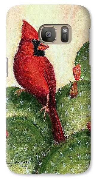 Galaxy Case featuring the painting Cardinal On Prickly Pear Cactus by Judy Filarecki
