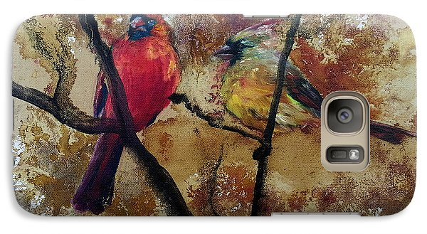 Galaxy Case featuring the painting Cardinal Redbird Couple by Christy  Freeman