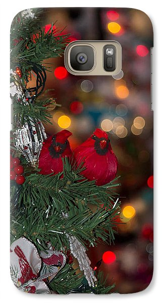 Galaxy Case featuring the photograph Cardinals At Christmas by Patricia Babbitt