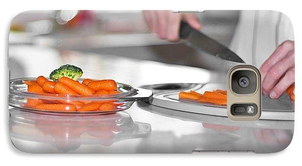 Galaxy Case featuring the photograph Carrot Cutting In Kitchen by Gunter Nezhoda