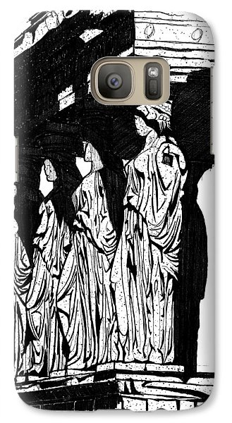 Galaxy Case featuring the drawing Caryatids In High Contrast by Calvin Durham