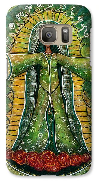 Galaxy Case featuring the painting Cascade Of Roses Madonna by Deborha Kerr