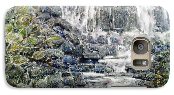Galaxy Case featuring the painting Cascade With A Touch Of Orange by Louise Peardon