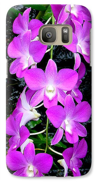 Galaxy Case featuring the photograph Cascading Orchids by Sue Melvin