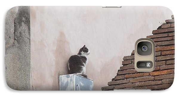 Galaxy Case featuring the photograph Cat Above The Roman Ruins by Tiffany Erdman
