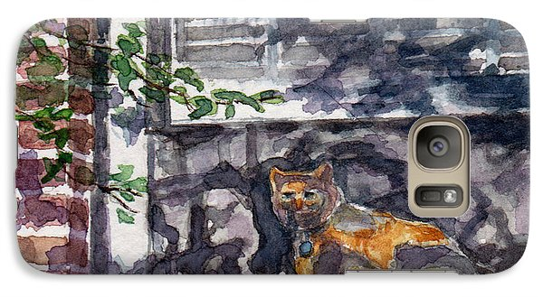 Galaxy Case featuring the painting Cat Behind The Screen by Julie Maas