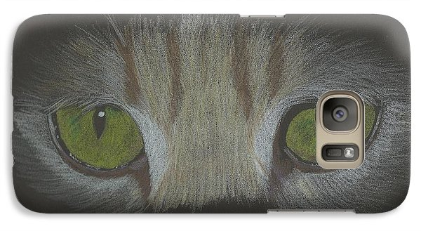 Galaxy Case featuring the drawing Cat Eyes Study by Sheila Byers