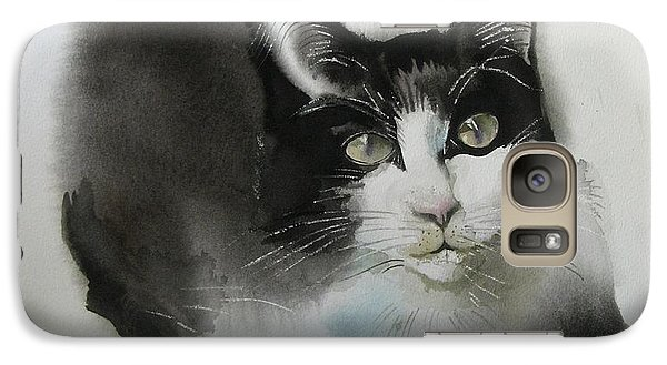 Galaxy Case featuring the painting Cat In Black And White by Alfred Ng