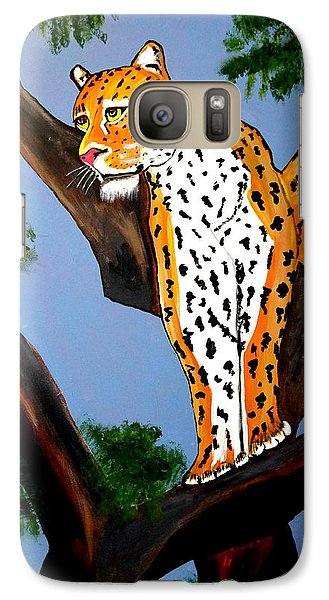 Galaxy Case featuring the painting Cat On A Hot Wood Tree by Nora Shepley