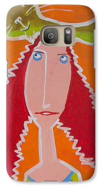 Galaxy Case featuring the painting Cat On My Head by Artists With Autism Inc