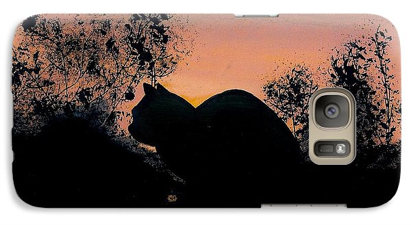 Galaxy Case featuring the drawing Cat - Orange - Silhouette by D Hackett