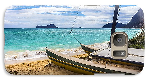 Galaxy Case featuring the photograph Catamaran On Waimanalo Beach by Leigh Anne Meeks