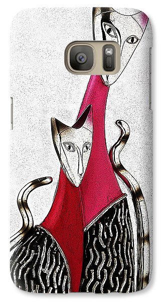Galaxy Case featuring the drawing Catcat by Selke Boris