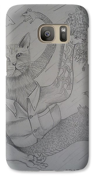 Galaxy Case featuring the drawing Catfishgiraffeamouse by Richie Montgomery