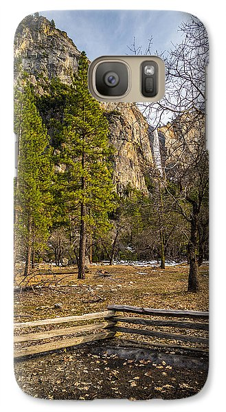 Galaxy Case featuring the photograph Cathedral Rock And Bridalveil Falls by Mike Lee