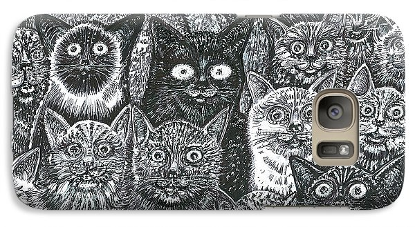 Galaxy Case featuring the mixed media Cats Eyes by Giovanni Caputo