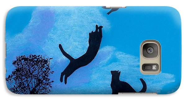 Galaxy Case featuring the drawing Cats -  Playing by D Hackett