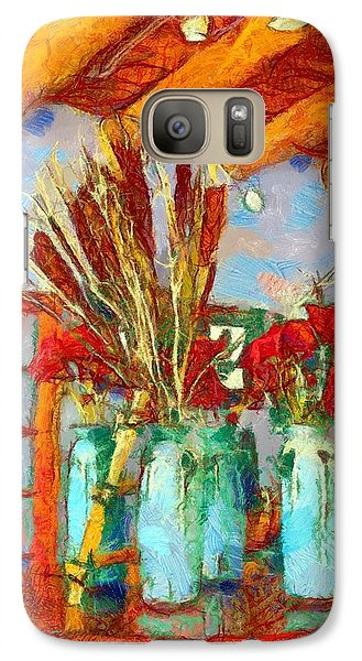 Galaxy Case featuring the digital art Cattails And Poppies by Carrie OBrien Sibley