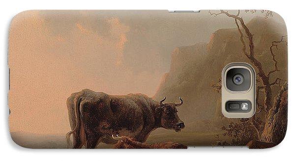 Cattle In An Italianate Landscape Galaxy Case by Jacob van Strij