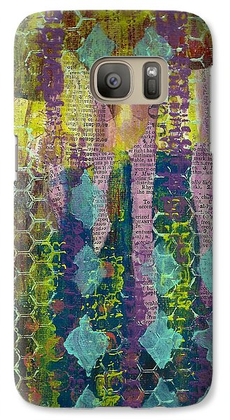 Galaxy Case featuring the mixed media Caught In The Net by Lisa Noneman