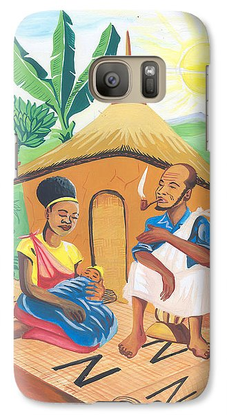 Galaxy Case featuring the painting Celebration Of The Nativity In Rwanda by Emmanuel Baliyanga