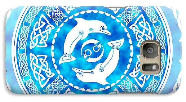 Galaxy Case featuring the mixed media Celtic Dolphins by Kristen Fox