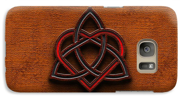 Galaxy Case featuring the digital art Celtic Knotwork Valentine Heart Canvas Texture 1 Horizontal by Brian Carson