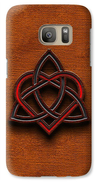 Galaxy Case featuring the digital art Celtic Knotwork Valentine Heart Canvas Texture 1 Vertical by Brian Carson
