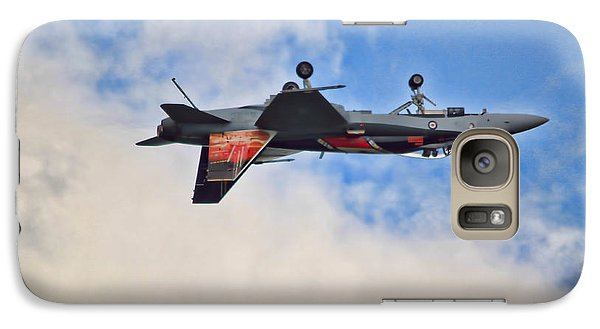 Galaxy Case featuring the photograph Cf18 Hornet Upside Down Fly By  by Cathy  Beharriell