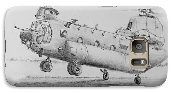 Galaxy Case featuring the drawing Ch 47 Chinook Helicopter by Jim Hubbard