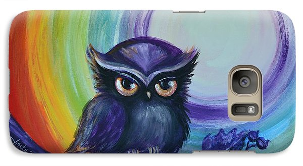 Galaxy Case featuring the painting Chakra Meditation With Owl by Agata Lindquist