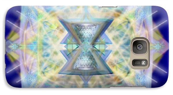 Galaxy Case featuring the digital art Chalicell Matrix Rainbow Cross Of Light by Christopher Pringer