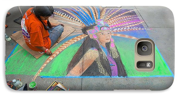Galaxy Case featuring the photograph Pasadena Chalk Art - Street Photography by Ram Vasudev