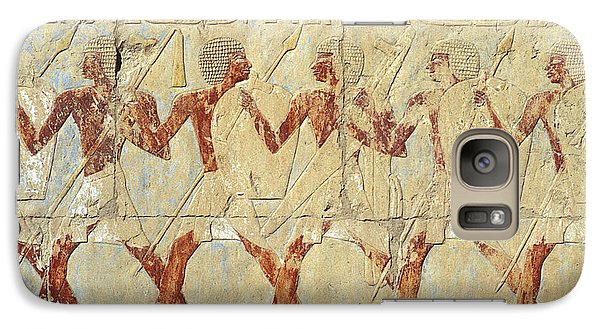 Galaxy Case featuring the relief Chapel Of Hathor Hatshepsut Nubian Procession Soldiers - Digital Image -fine Art Print-ancient Egypt by Urft Valley Art