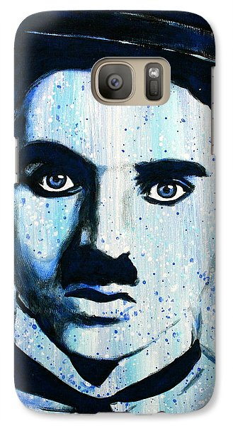 Galaxy Case featuring the painting Charlie Chaplin Little Tramp Portrait by Bob Baker