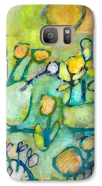Galaxy Case featuring the mixed media Cheerful Garden by Catherine Redmayne