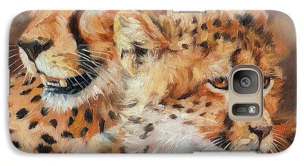 Cheetah And Cub Galaxy Case by David Stribbling
