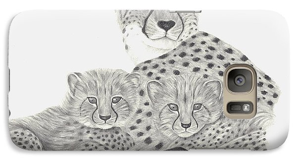 Galaxy Case featuring the drawing Cheetah And Her Cubs by Patricia Hiltz