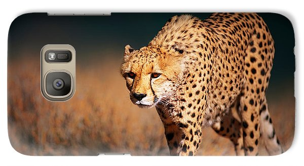 Cheetah Approaching From The Front Galaxy Case by Johan Swanepoel