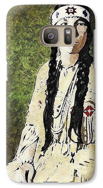Galaxy Case featuring the digital art Cherokee Woman by Lianne Schneider