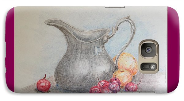 Galaxy Case featuring the drawing Cherries Still Life by Marilyn Zalatan
