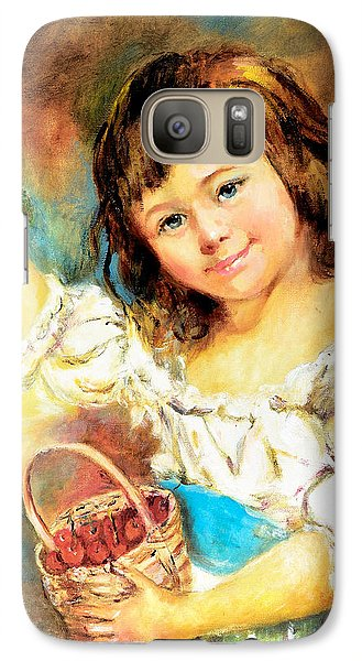 Galaxy Case featuring the painting Cherry Basket Girl by Sher Nasser