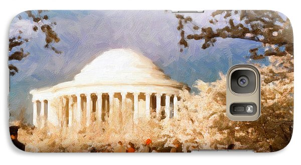 Galaxy Case featuring the painting Cherry Blossom Jefferson Memorial 1950s by Spyder Webb