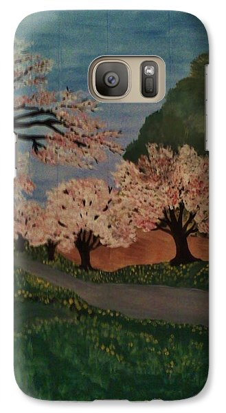 Galaxy Case featuring the painting Cherry Blossom Path by Christy Saunders Church