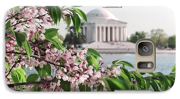 Galaxy Case featuring the photograph Cherry Blossoms And The Jefferson Memorial 2 by Mitchell R Grosky