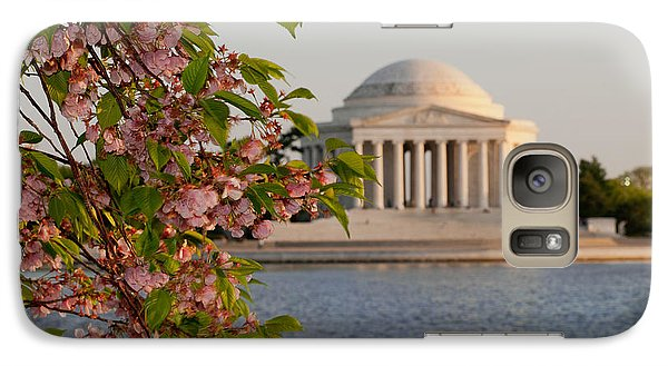 Galaxy Case featuring the photograph Cherry Blossoms And The Jefferson Memorial 3 by Mitchell R Grosky