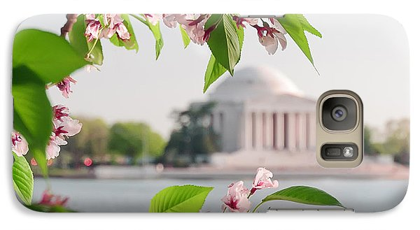 Galaxy Case featuring the photograph Cherry Blossoms And The Jefferson Memorial by Mitchell R Grosky