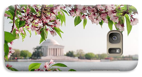 Galaxy Case featuring the photograph Cherry Blossoms And The Jefferson Memorial Panorama by Mitchell R Grosky