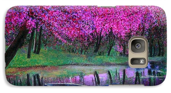 Galaxy Case featuring the painting Cherry Blossoms By The Lake by Marie-Line Vasseur