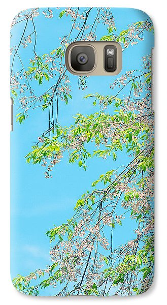 Galaxy Case featuring the photograph Cherry Blossoms Falling by Rachel Mirror